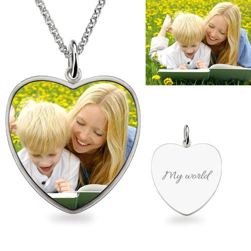 Full Color - Heart Shape Photo Necklace Sterling Silver