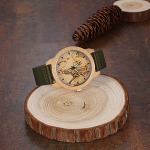 Green Leather Band Engraved Photo Bamboo Watch