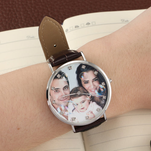 Brown Leather Band Full Color Photo Watch