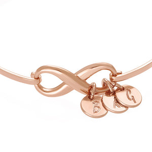 Infinity Bangle Bracelet with Initial Charms