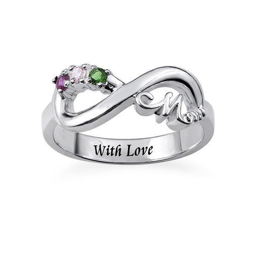 Sterling Silver Infinity Birthstones Mom Ring
