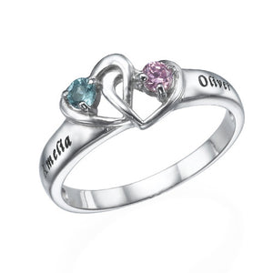 Interlocking Heart Ring with Birthstones