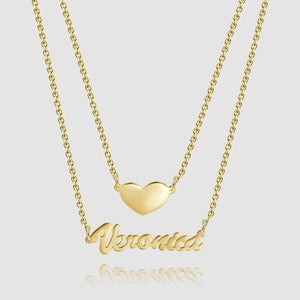 Heart Personalized Name Necklace 14K Gold Plated
