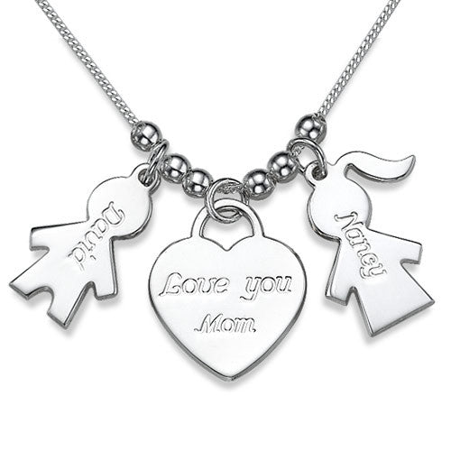 Sterling Silver Kid With Heart 3 Charms