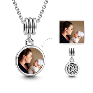 Petal Round Personalized Photo Necklace