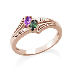 Sterling Silver Olive Shape Birthstone Ring