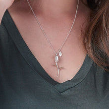 Rose Necklace with 3 Initial charms in Silver Sterling