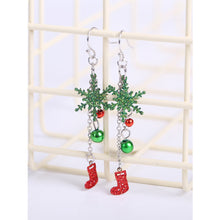 Christmas Sock with Green Flake Drop Earrings