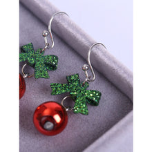 Christmas Ball with Green Bow Drop Earrings