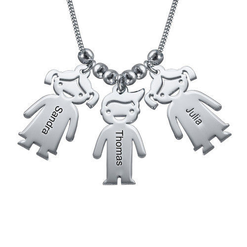 Sterling Silver Necklace with Children 3 Charms