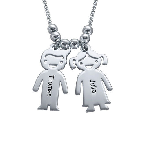Sterling Silver Necklace with Children 2 Charms