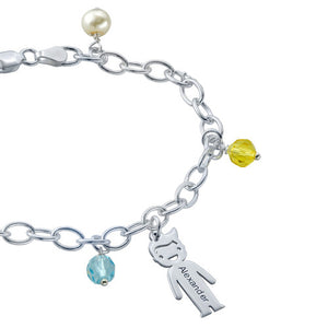 Sterling Silver Mother's Charms Bracelet 4 Charms