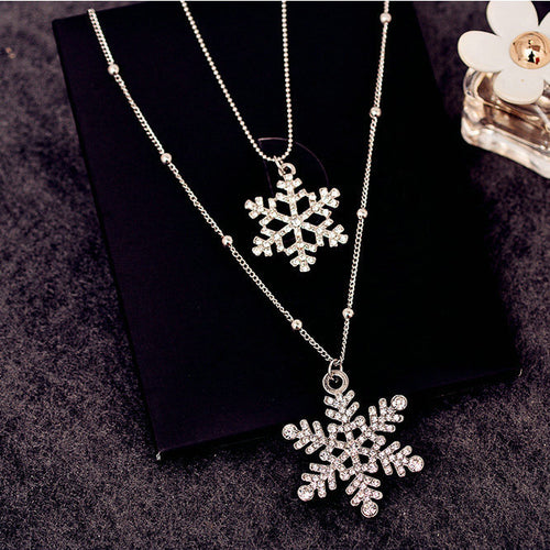 Double Snowflake Long Necklace Set