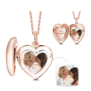 Heart Personalized Engravable Photo Locket Necklace Platinum Plated Copper