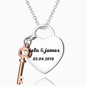 Heart & Key To Love Necklace