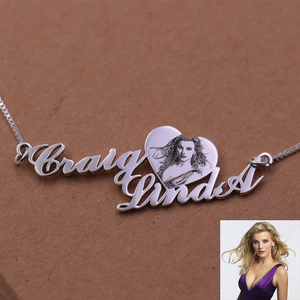 Two-Row Name Photo Necklace