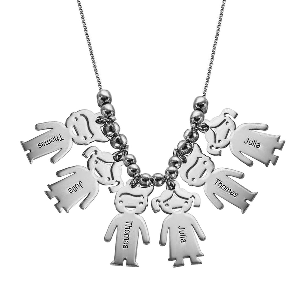 Necklace with Children 9 Charms