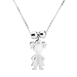 Sterling Silver 1 Kid Name Charm Necklace