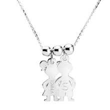 Sterling Silver 2 Kids Name Charms Necklace