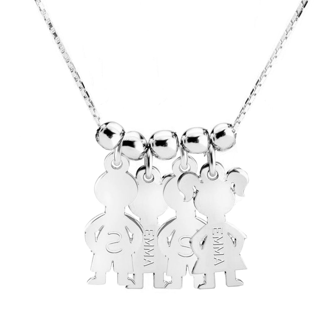 Sterling Silver 4 Kids Name Charms Necklace