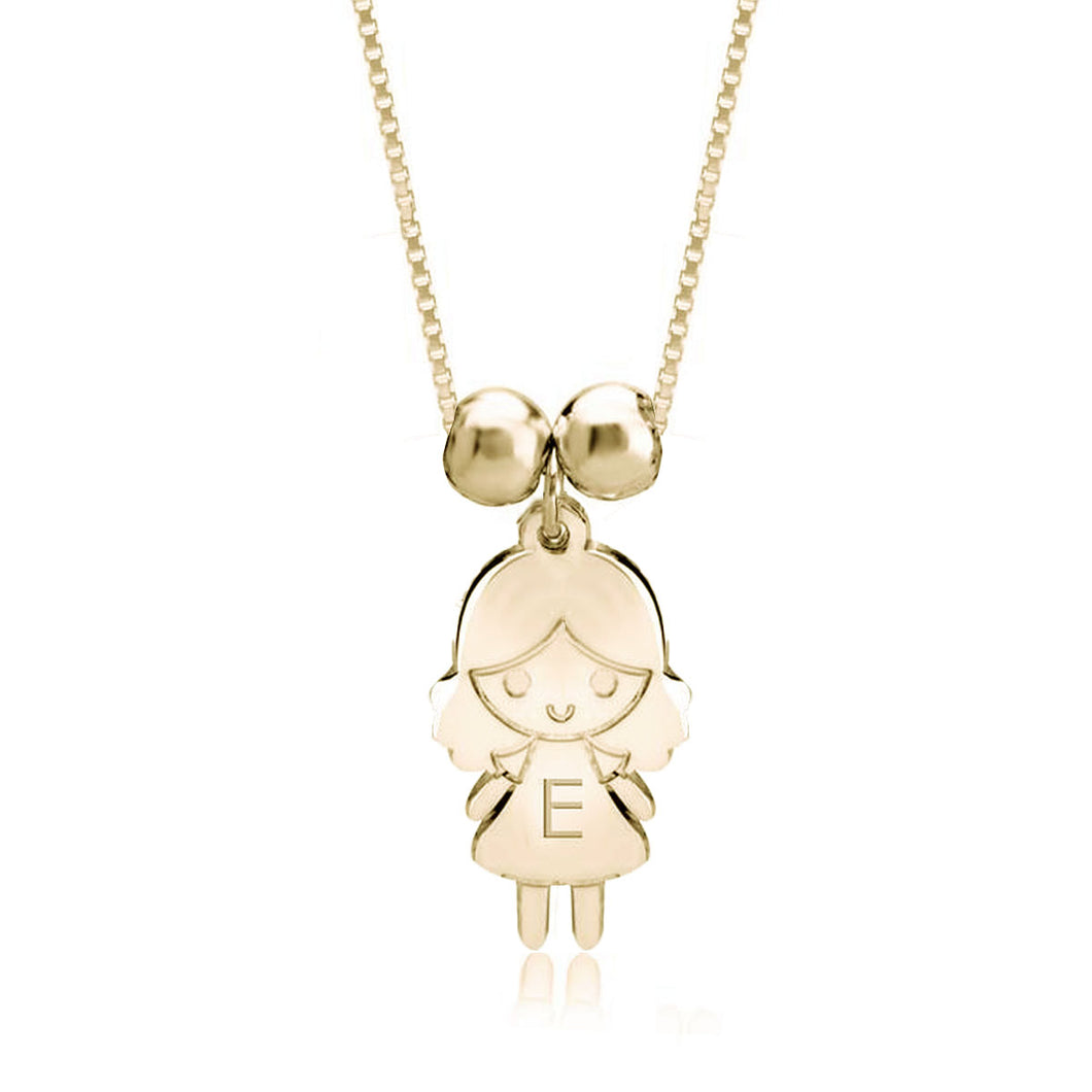 Sterling Silver 1 Child Cartoon Charm Necklace