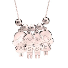 Sterling Silver 5 Children Cartoon Charms Necklace