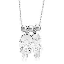 Sterling Silver 2 Children Cartoon Charms Necklace