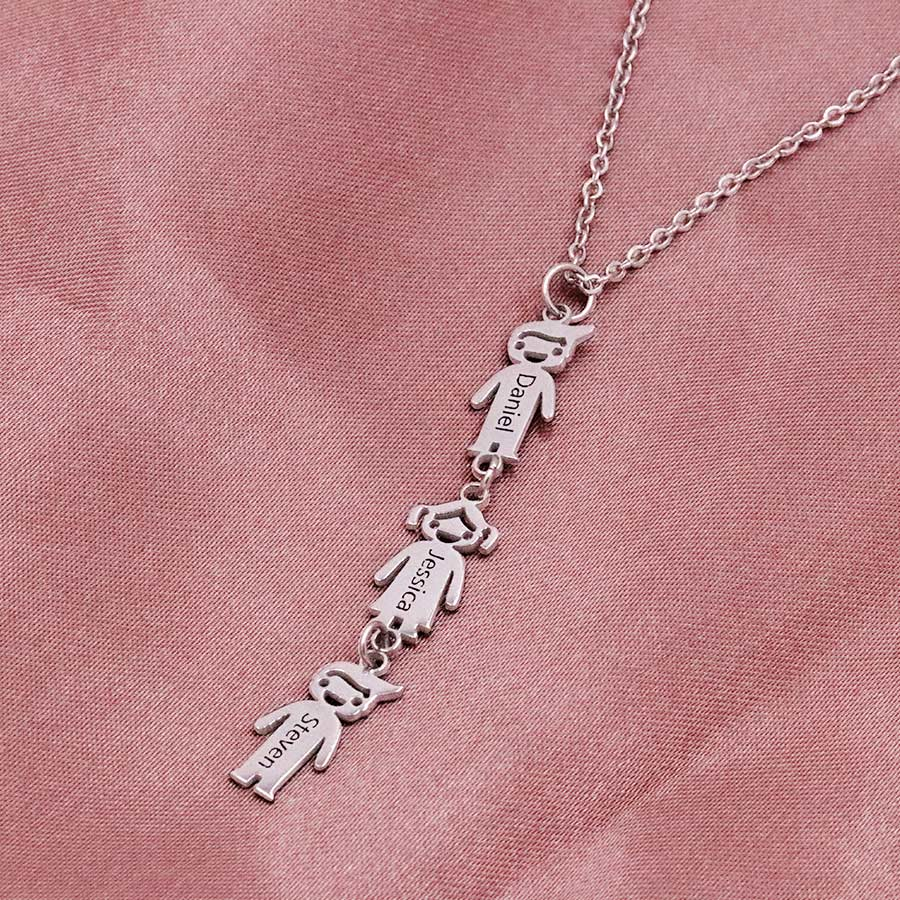 Vertical Children Charms Necklace