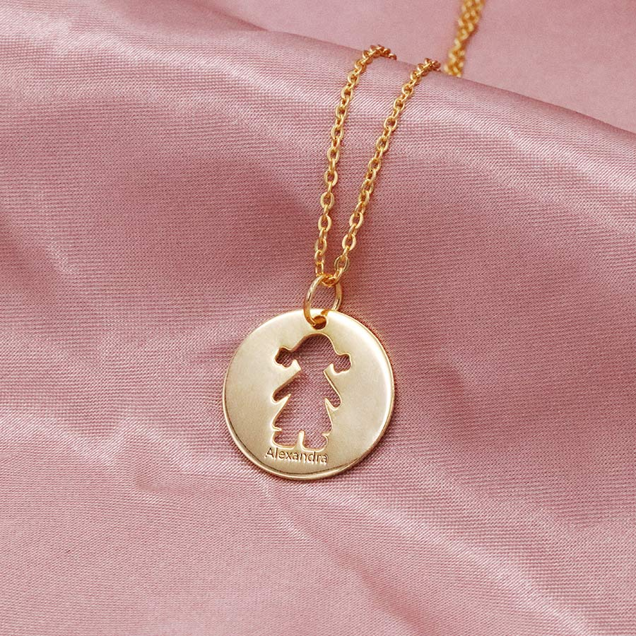 Hollowed Children Outline Necklace