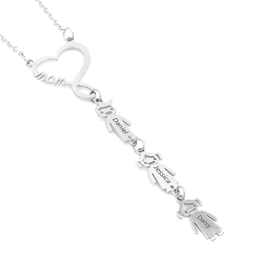 Children Charms With Heart Infinity Necklace