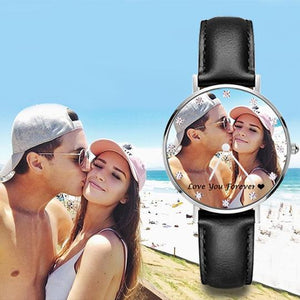 Custom Photo Watch With Zircon Senior Black Leather