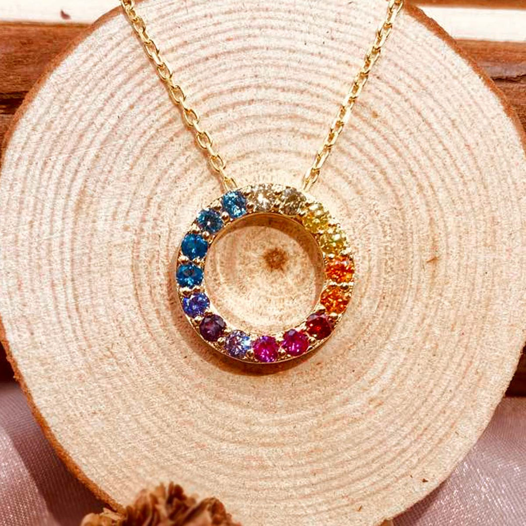 Gradient Color Crystal Necklace