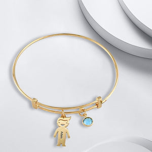 Bangle Bracelet with 1 Kid Charm
