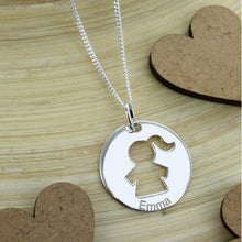 Hollowed Kid Disc Charm Necklace