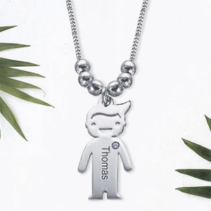 Sterling Silver Children Charms Necklace with Birthstone 1 Charm