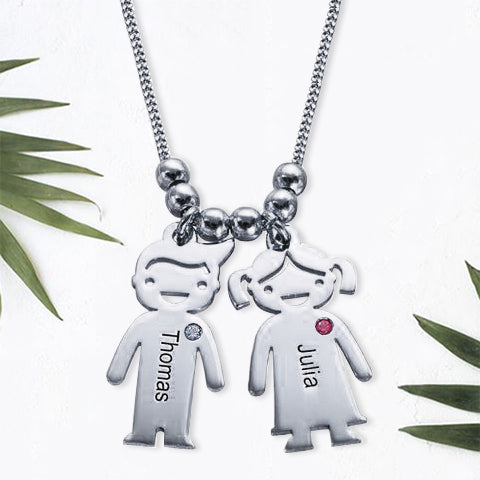 Children Charms Necklace with Birthstone