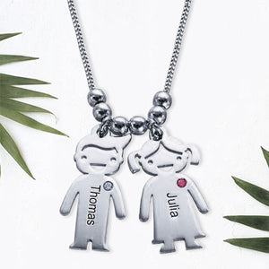 Sterling Silver Children Charms Necklace with Birthstone 5 Charms