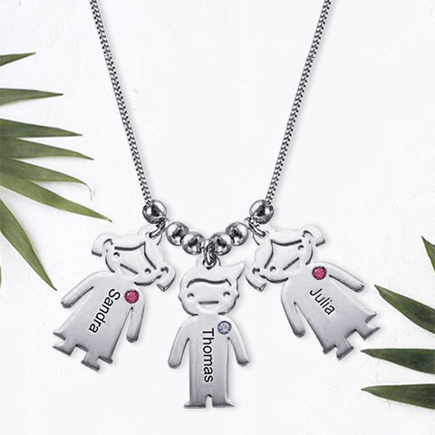 Sterling Silver Children Charms Necklace with Birthstone 3 Charms