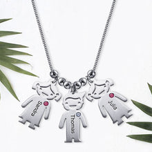 Sterling Silver Children Charms Necklace with Birthstone 4 Charms