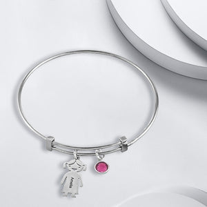 Bangle Bracelet with 2 Kids Charms