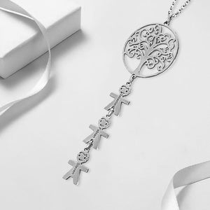 Vertical Children Charms With Family Tree Necklace