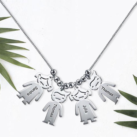 Necklace with Children 4 Charms