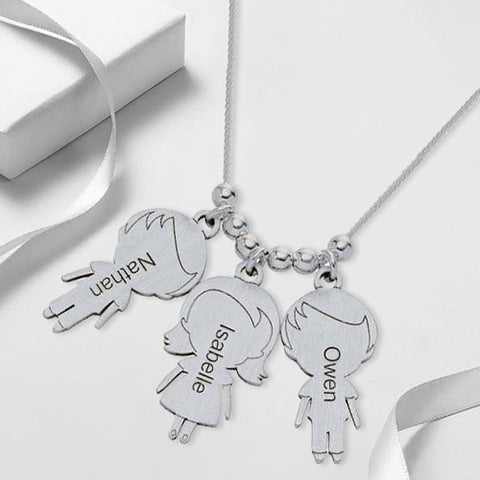 Necklace with lovely Children 3 Charms