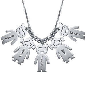 Sterling Silver Necklace with Children 5 Charms