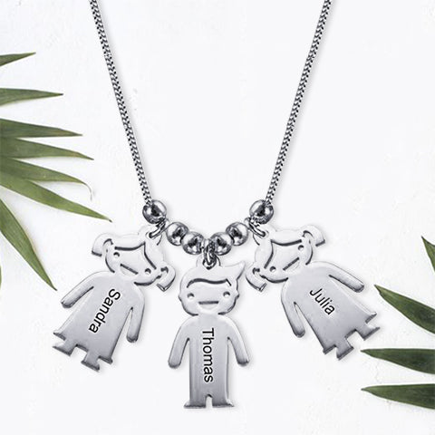 Necklace with Children 3 Charms