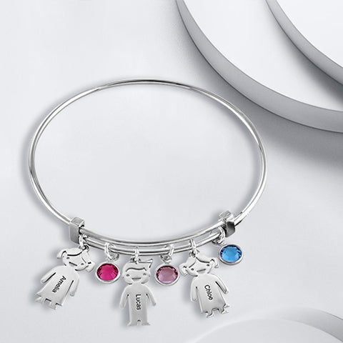 Bangle Bracelet with 3 Kids Charms