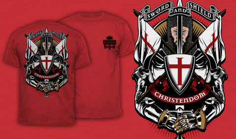 Sword And Shield - Men's T-Shirt Red