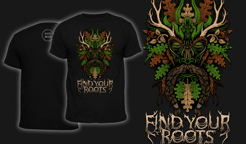 Green Man Find Your Roots - Men's T-Shirt Black