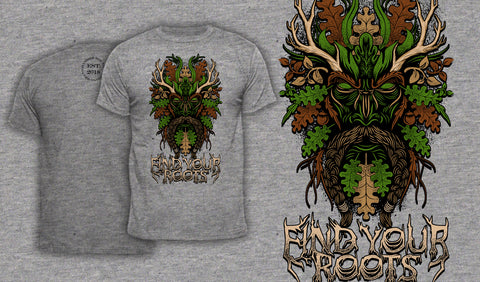 Green Man Find Your Roots - Men's T-Shirt Heather Gray