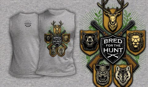 Bred For The Hunt - Muscle Shirt Heather Gray